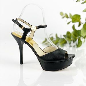 Michael Kors Black Leather Ankle Strap Platform
